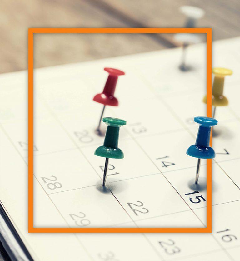 Pinnnadeln in Terminkalender